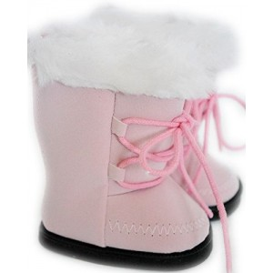 DollsHobbiesNmore PINK SUEDE BOOTS WITH WHITE FUR TRIM FOR AMERICAN GIRL DOLLS