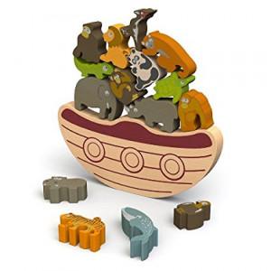 "BeginAgain Balance Boat: Endangered Animals Game and Playset €"" Award-Winning Stacking Toys Game  €"" Balance Game with Wooden Toy Animals"