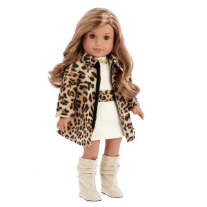 DreamWorld Collections Fashion Girl - 3 piece outfit - Cheetah Coat, Ivory Dress and Ivory Boots - 18 Inch Doll Clothes (doll not included)