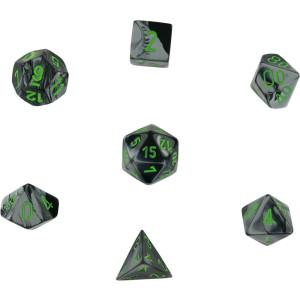 Chessex Gemini Black Grey w/ Green Polyhedral 7 Dice Set CHX26445