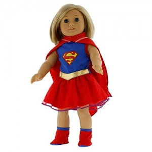 "Super Girl Doll Clothes for 18"" Dolls: Super Hero Outfit By Dress Along Dolly (Includes Dress, Shoes, and Cape)"