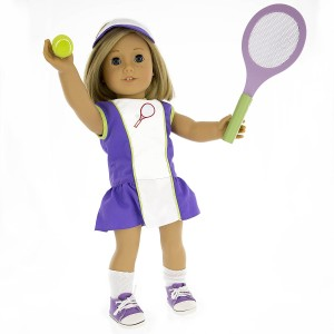 Tennis Outfit for American Girl Dolls Dress Along Dolly: 6 Pc (Dress, Hat, Racket, Ball, Socks and Shoes)