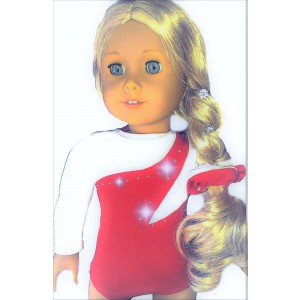 Fits 18 inch American Girl Dolls | Sporty Red and White Gymnastics Leotard | Doll Clothes Outfit (2 Piece Set) by Doll Connections