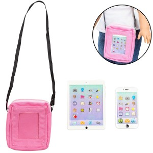 Dress Along Dolly Phone and Computer Tablet Set for American Girl Dolls (Premium Metal Construction, Includes Carry Bag)