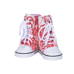 The New York Doll Collection 18 inch Doll Printed Hightops Sneakers Red - 18 Inch Sneakers for Doll Fits American Girl