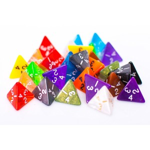 Easy Roller Dice Co. 25 Count Assorted Pack of 4 Sided Dice - Multi Colored Assortment of D4 Polyhedral Dice
