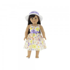 "18 Inch Doll Clothes | Gorgeous Floral Party Dress with Purple Trim, Including White Hat with Matching Ribbon | Fits 18"" American Girl Dolls"