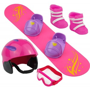 Click n' Play Doll Snowboard Set and Accessories. Perfect For 18 inch American Girl Dolls
