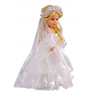 dayshopping Doll Dress For 18 Inch American Doll White Floor Length Princess Bride Wedding Dress With Veil Sleeves For Amercan Girl