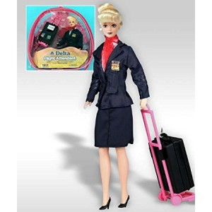 """Daron Flight Attendant Doll Delta Airlines 11"""" Doll Blond with Backpack and Accessories"""
