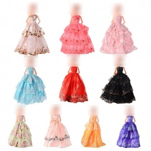 Acefun 10 Pcs Handmade Fashion Wedding Party Gown Dresses and Clothes for Barbie Doll Xmas Gift