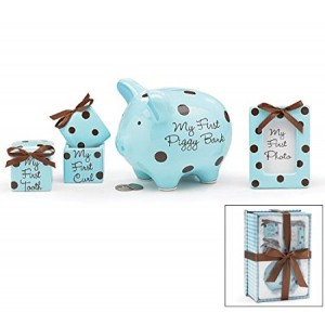 Burton & Burton Baby Boy 4 Piece Keepsake Gift Set With Piggy Bank, First Tooth Box,First Curl Box and Photo Frame