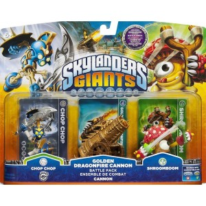 Skylanders Giants Exclusive Golden Dragonfire Cannon Battle Pack Chop Chop, Golden Dragonfire Cannon, and Shroomboom - Unlocks Exclusive in Game Battle Arena