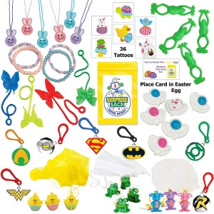 Multiple 110+ Piece Easter Egg Filler (Small Toy Assortment of Bunnies, Frogs, Chicks, and More.)
