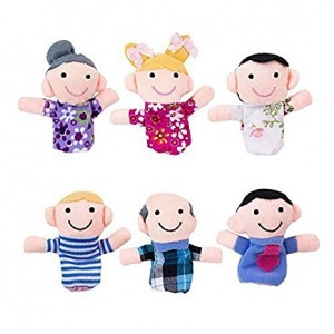 Mini Grandparents, Mom and Dad, Brother and Sister Family Style Finger Puppets for Children, Shows, Playtime, Schools - 6 Piece Set by Super Z Outlet