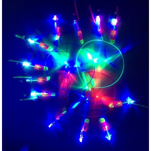 A&A NOVELTY 12 pc Amazing Changing Color Led Light Arrow Rocket copters Flying Toy + 3Pcs Light Up Flying Saucer UFO With Hand Launcher