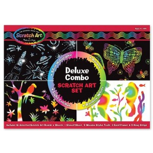 Melissa & Doug Melissa and Doug Deluxe Combo Scratch Art Set: 16 Boards, 2 Stylus Tools, 3 Frames