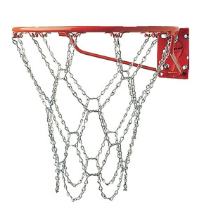 Champion Sports Heavy Duty Metal Chain Link Basketball Net, Fits Standard Indoor or Outdoor Basketball Hoop (Rustproof, Zinc-plated Galvanized Steel, Silver)