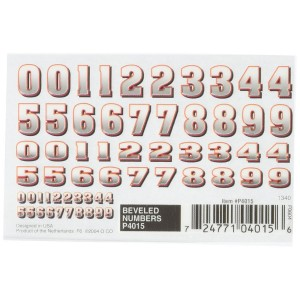 """Woodland Scenics Pine Car Derby Dry Transfer Decal 3""""X2-1/2"""" Sheet-Beveled Numbers"""
