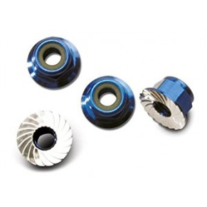 Traxxas 1747R Blue-Anodized Aluminum 4mm Flanged, Serrated Lock Nuts (set of 4)