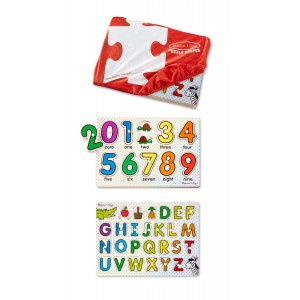 Melissa & Doug Melissa and Doug ABCs and 123s Wooden Peg Puzzles Set With Puzzle Keeper Stretchy Cover