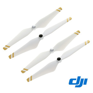 2 Pairs Genuine DJI Phantom 3 E305 9450 Props Self-tightening Propellers (Composite Hub, White with Gold Stripes) For Phantom 3 Professional, Advanced, Phantom 2 series, Flame Wheel series platforms and the E310/E305/E300 tuned propulsion systems White wi