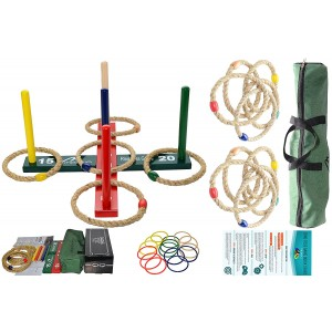 Mabua Ring Toss Games Kids Adults With 10 Quoits Carry Bag - Also Available: 10 Quoits and 15 Plastic Ropes