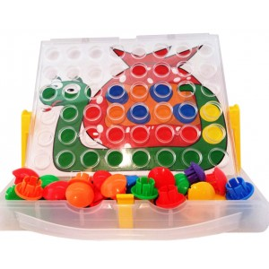 Peg Button Art Fun by Skoolzy, a Creative Children Activity Toy. Portable Color Matching Pegboard with 12 Reusable Templates and Stand - Fine Motor Skills Toddler Game for Boys and Girls.
