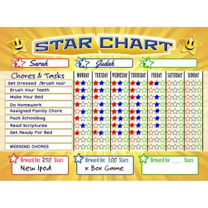Bigtime Magnetic Behavior / Star / Reward Chore Chart for One or Multiple Kids, Toddlers or Teens | Premium Dry Erase Surface | Charts Have Full Magnet Back for Fridge | Helps Teach Responsibilty