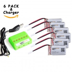 6 Pcs of Keenstone 3.7V 400mAh 25C LiPO Battery w/6-Port Battery Charger for Hubsan X4 (H107,H107C,H107D,H107L,V252,JXD385,F180C) 4 Channel 2.4GHz RC QuadCopter Compatible with Walkera Super CP