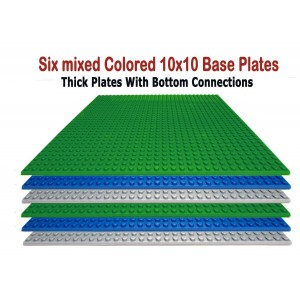 """Dreambuilder Toy LLC Building Base Plates- Baseplate 10"""" x 10"""" in Variety Color, Compatible with all Major Brands (Pack of 6, Variety)"""