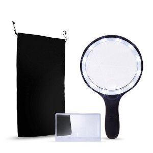 Deluxe Magnifier Set with Magnifying Glass with 12 LED Lights, Credit Card Size Magnifier and Storage Bag- Best 5.5 INCH Handheld Portable Magnification 1.8x, 5x