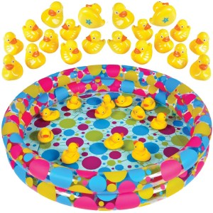 """Duck Pond Matching Game for kids by GAMIE - Includes 20 Plastic Ducks with number and shapes And 3' x 6"""" Inflatable Pool - Fun Memory Game - Water Outdoor Game for Children, Preschoolers, Birthday Party"""