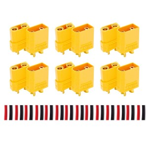 LHI XT90 Battery Connector Set for RC Lipo Battery Motor 6 Pairs Yellow ,6 Male Connectors + 6 Female Connectors