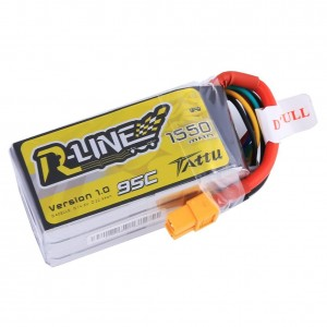 Tattu R-Line LiPo Battery Pack 1550mAh 14.8V 95C 4S with XT60 Plug for FPV Racing