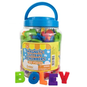 Boley Toddler Bucket of Magnetic Letters and Numbers - 120 pc magnetic play letters, numbers and symbols in a clear transportable bucket - Great educational toys for 3 year olds and up!