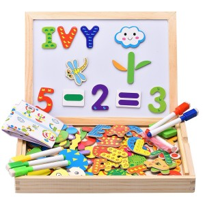 Innocheer Wooden Magnetic Puzzle, Letters/Numbers/Shape 110 Pieces with 5 Colored Dry Erase Markers Set - Learning and Educational Game Toy for Kids