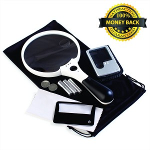 3 Magnifier Bundle: XL Quality Magnifying Glass with Light 10x 4x 2x Lenses + Pocket Magnifier with Light 6x 3x Lenses + Credit Card Magnifier with Light 3x Lens + Batteries, Free Bonus and Guarantee