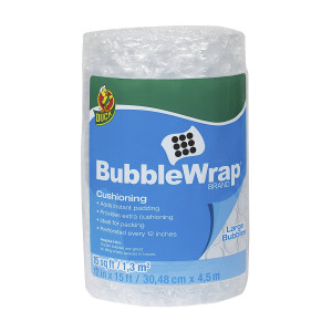 Fisher Duck Brand Bubble Wrap Cushioning, Large Bubbles, 12 Inches x 15 Feet, Single Roll (1304499)