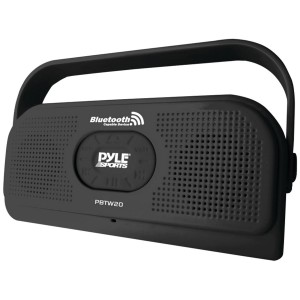 PYLE PBTW20BK Surf Sound 2-In-1 Waterproof Wireless Bluetooth Stereo Speaker and Microphone for Call Answering, Black