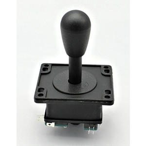 Competition Style Arcade Joystick BLACK Switchable from 8-way to 4-way operation, Elliptical Black Handle, Precision 8-way by RetroArcade.us