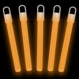 """100 Glow With Us Brand 4"""" SUPERIOR Orange Glow Sticks Bulk Wholesale Pack with FREE 100 Assorted Glow Bracelets"""