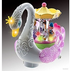 WolVol Bump and Go Beautiful Musical Rotating Horses Carousel Music Box on Self Riding Swan Animal, Lights and Sounds, For Girls