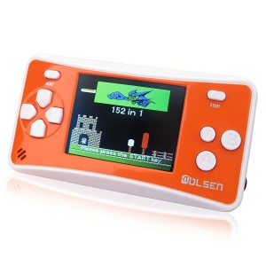 """WOLSEN 2.5"""" LCD Portable Game Console Speaker (Orange + White) (3 X AAA) 152 in 1 Games"""
