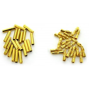 BW 20 Pairs 4mm Gold Plated Male and Female Bullet Banana Plug Connector for ESC Battery (20 Male + 20 Female)