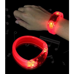 12 PC LED Light Up Sound Activated Bangle Bracelets Wristbands - Various Colors by Mammoth Sales