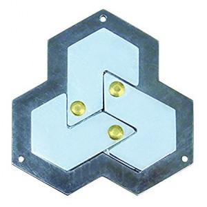 BePuzzled HEXAGON Hanayama Cast Metal Brain Teaser Puzzle (Level 4)