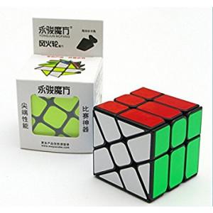 CuberSpeed Yongjun ( YJ ) Windmill V2 3x3 Black magic cube YJ Wheel with half bright sticker Fenghuolun 3x3x3 speed cube puzzle