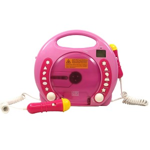 IQ Toys Portable Sing Along CD/USB/SD player Anti skip, with 2 Microphones and AC adapter ( Pink)
