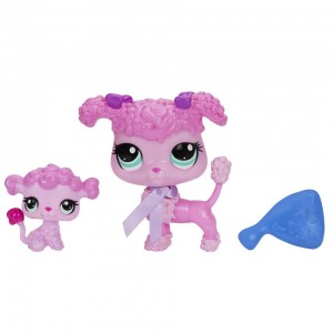 Littlest Pet Shop Pet and Friend - Poodle and Baby Poodle
